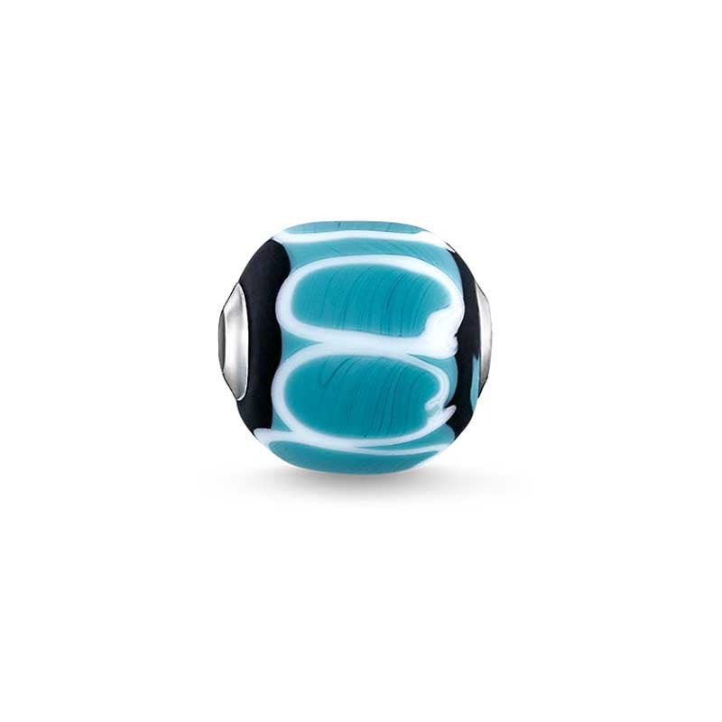 Turquoise, black, white glass bead