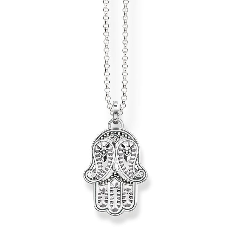 Silver paisley hand of Fatima necklace