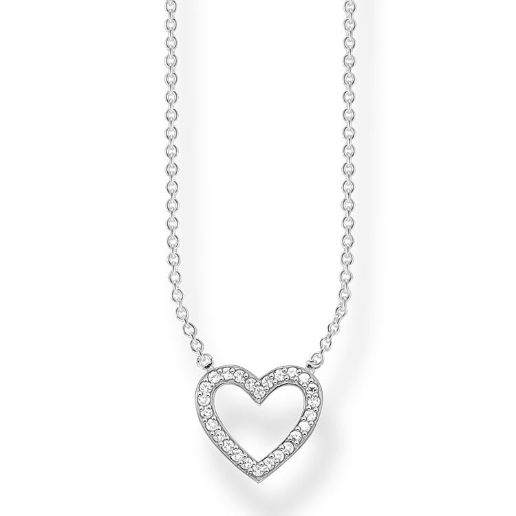Silver and CZ heart necklace