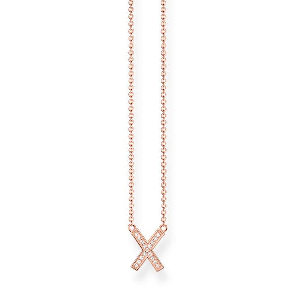 Rose finish cross necklace