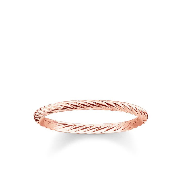 Rose finish simple twist ring