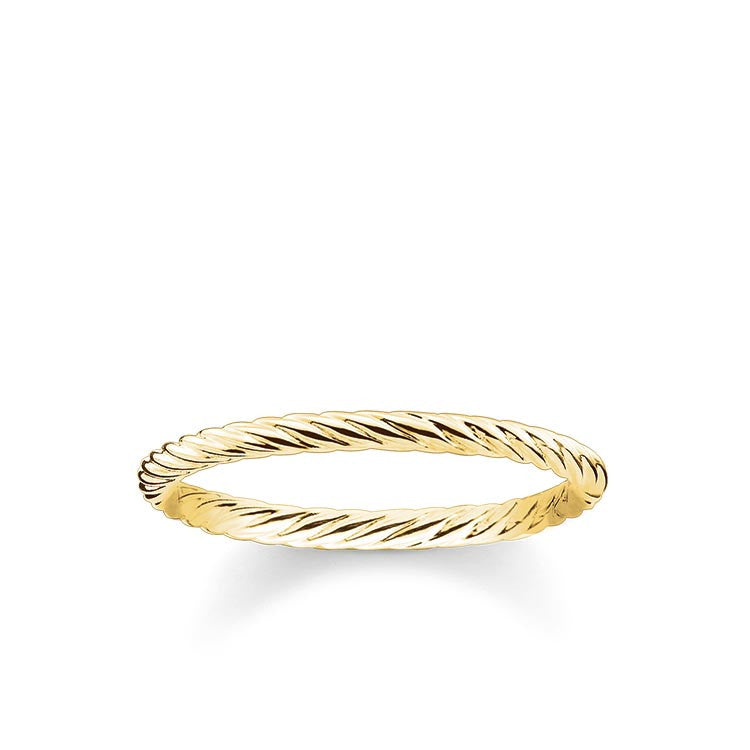 Yellow gold finish simple twist ring