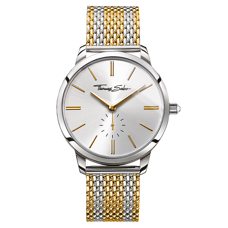 Steel watch with striped mesh band