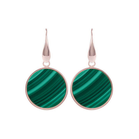 Bronzallure Alba Disc Earrings (Malachite) WSBZ00712.GM