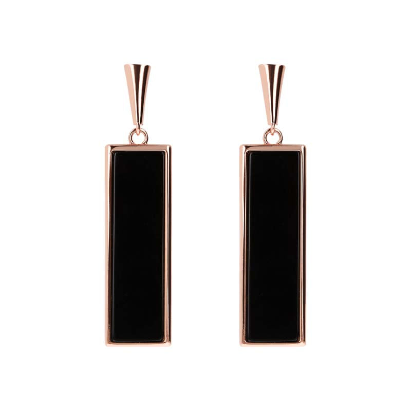 Bronzallure Rectangle Earrings (Onyx) WSBZ01384.BO