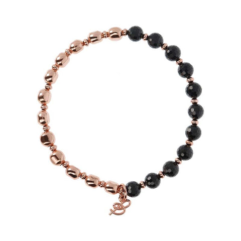 Bronzallure Variegata Beaded Stacker Bracelet (Black Spinel) WSBZ01431.BS