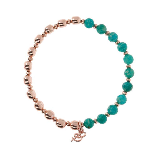 Bronzallure Variegata Beaded Stacker Bracelet (Green Amazonite) WSBZ01431.GAZ