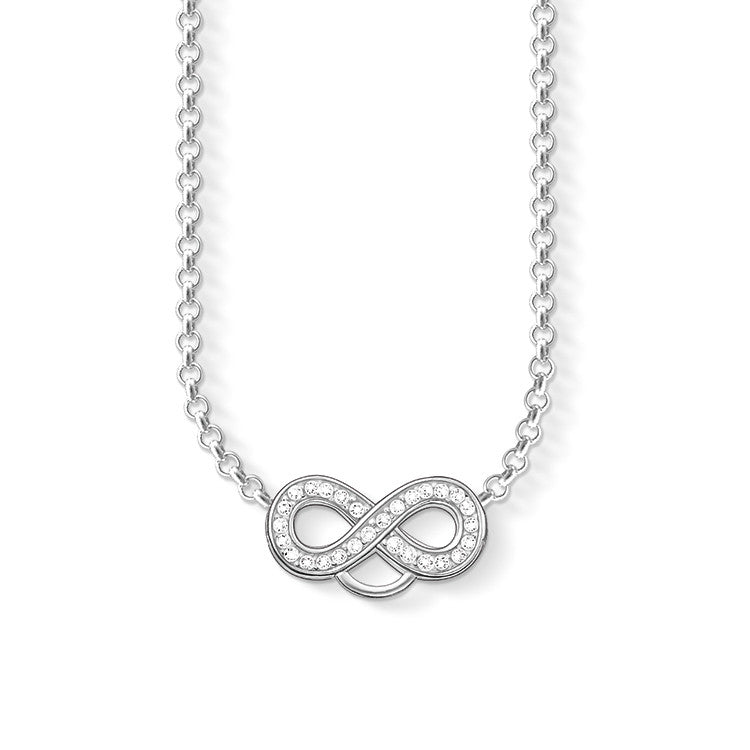 Charm Club silver necklace with infinity symbol and CZ