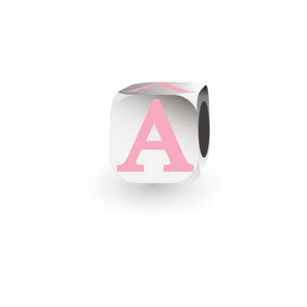 Silver letter charm with pink enamel