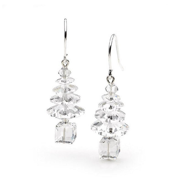Silver and Swarovski Crystal Tree Earrings CTE-C-S