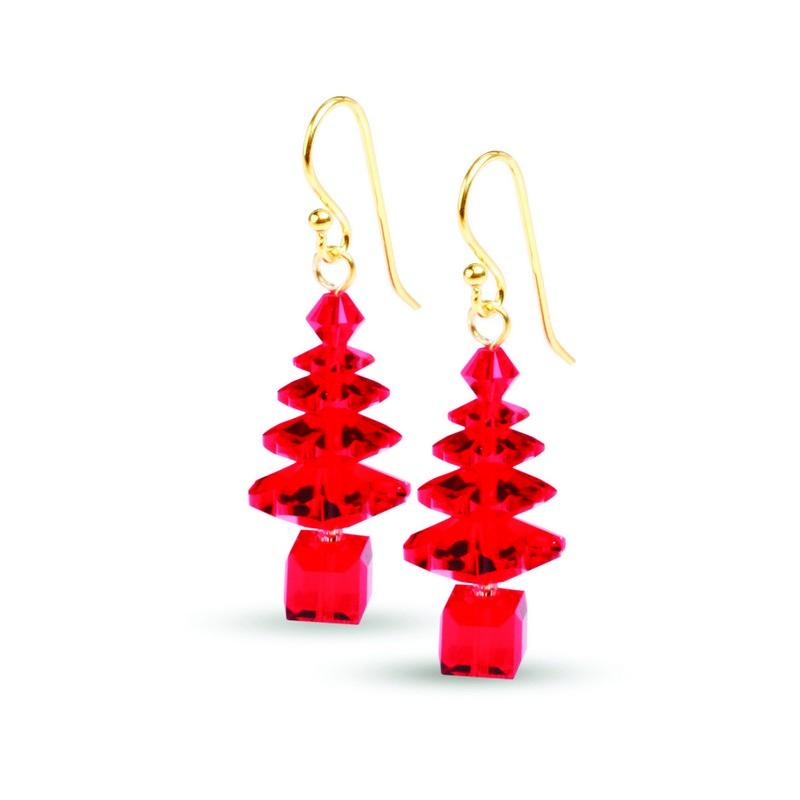 Gold and Red Swarovski Crystal Tree Earrings CTE-R-G