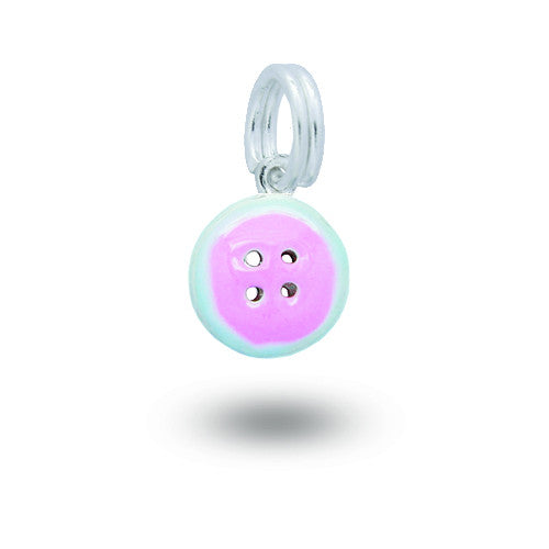 Silver button charm with enamel