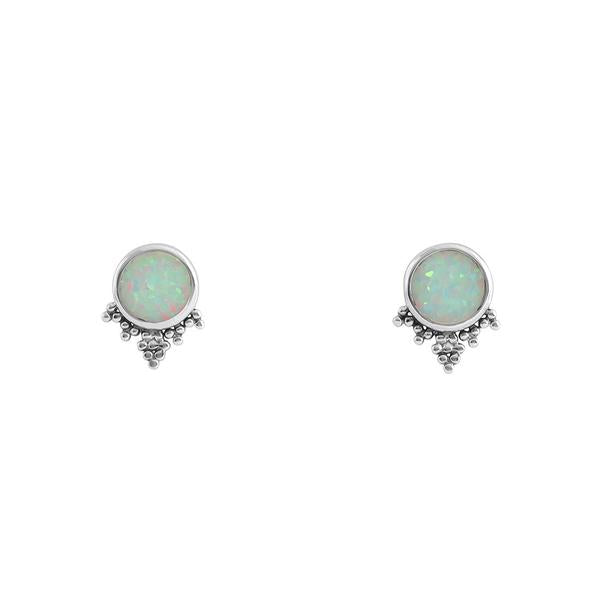 Silver and synth opal studs
