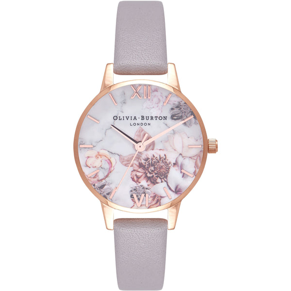 Floral face rose gold watch