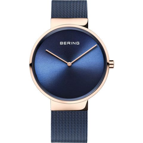 Bering Classic Collection 39mm Watch (Navy & Rose) 14539-367