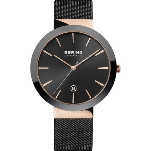 Bering Ceramic Bezel Watch (Black & Rose) 11440-166