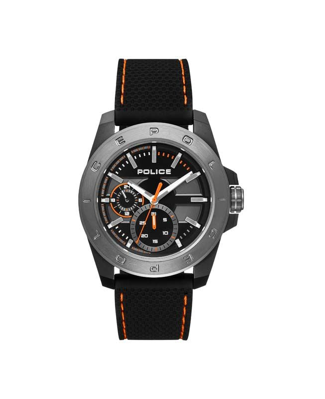 Black and orange Police watch