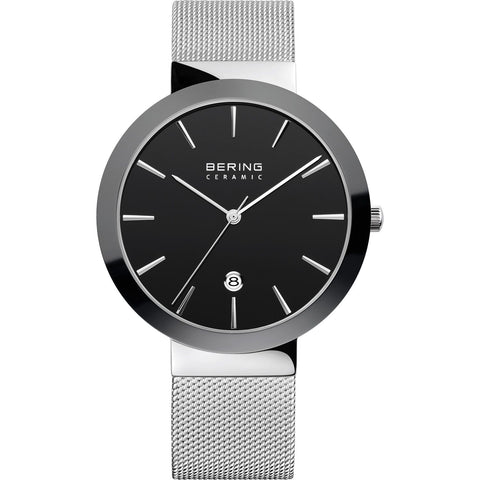 Bering Ceramic Bezel Watch (Black & Steel) 11440-042