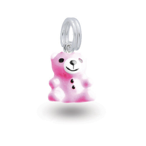 Silver bear charm with pink enamel