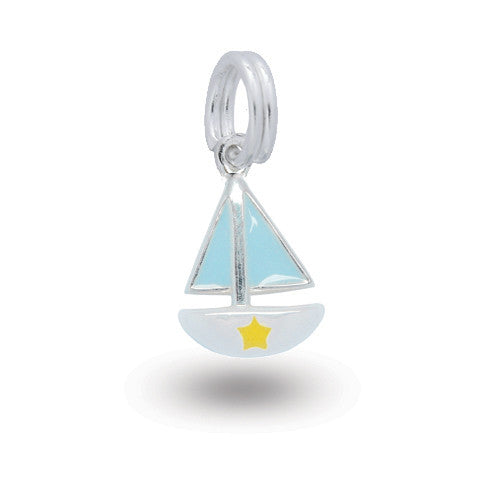Silver boat charm with coloured enamel