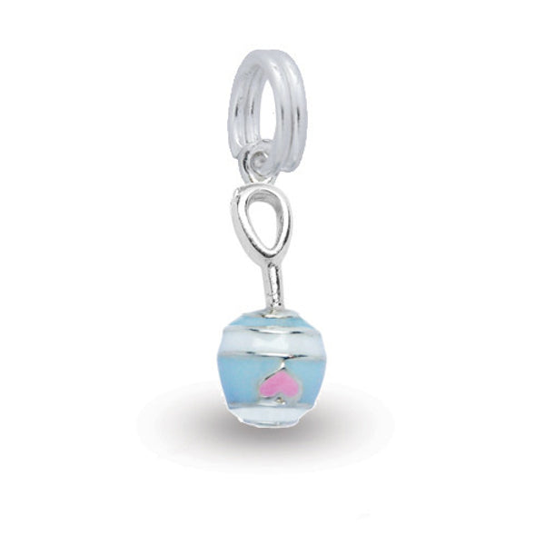 Silver baby rattle charm with coloured enamel