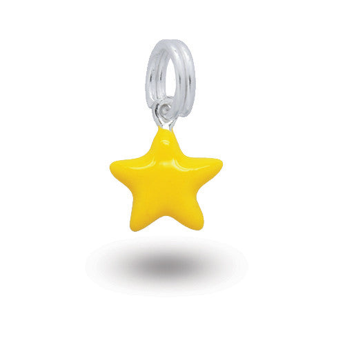 Silver yellow star charm with enamel