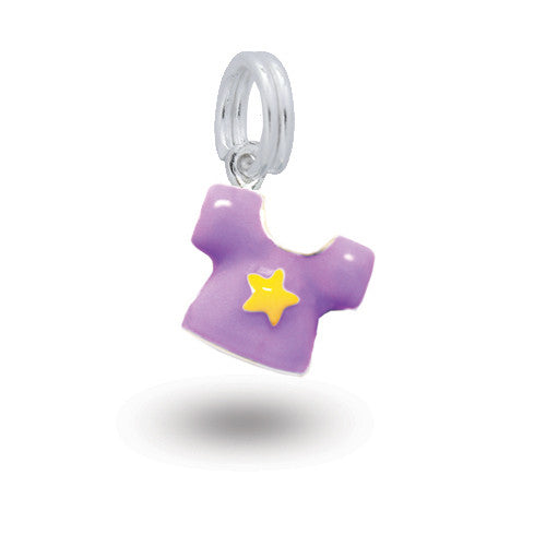 Silver shirt charm with coloured enamel