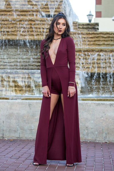 Deep V Burgundy Jumpsuit