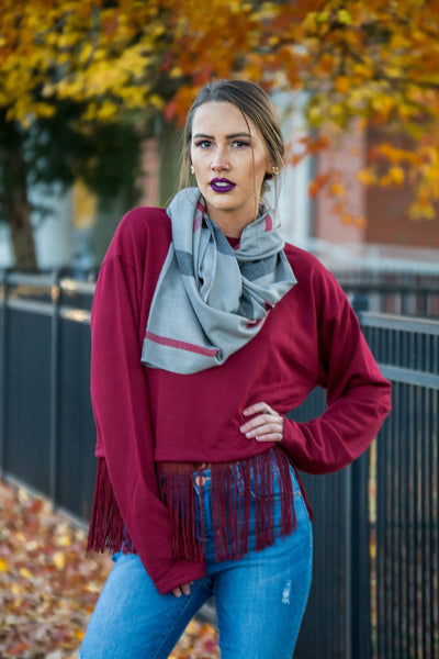 Fringe Burgundy Crop Sweater