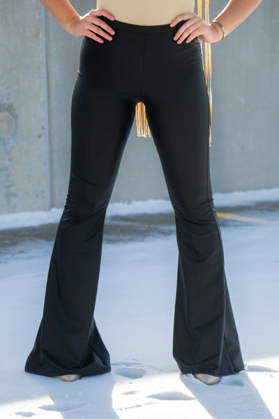 Black Leather Bell Bottoms