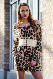 Leopard Off Shoulder Sweater Dress