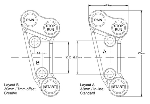 Suzuki GSXR1000 (2017), Brake Clamp type (standard 32mm spacing) Stop/Run - Start - Rain