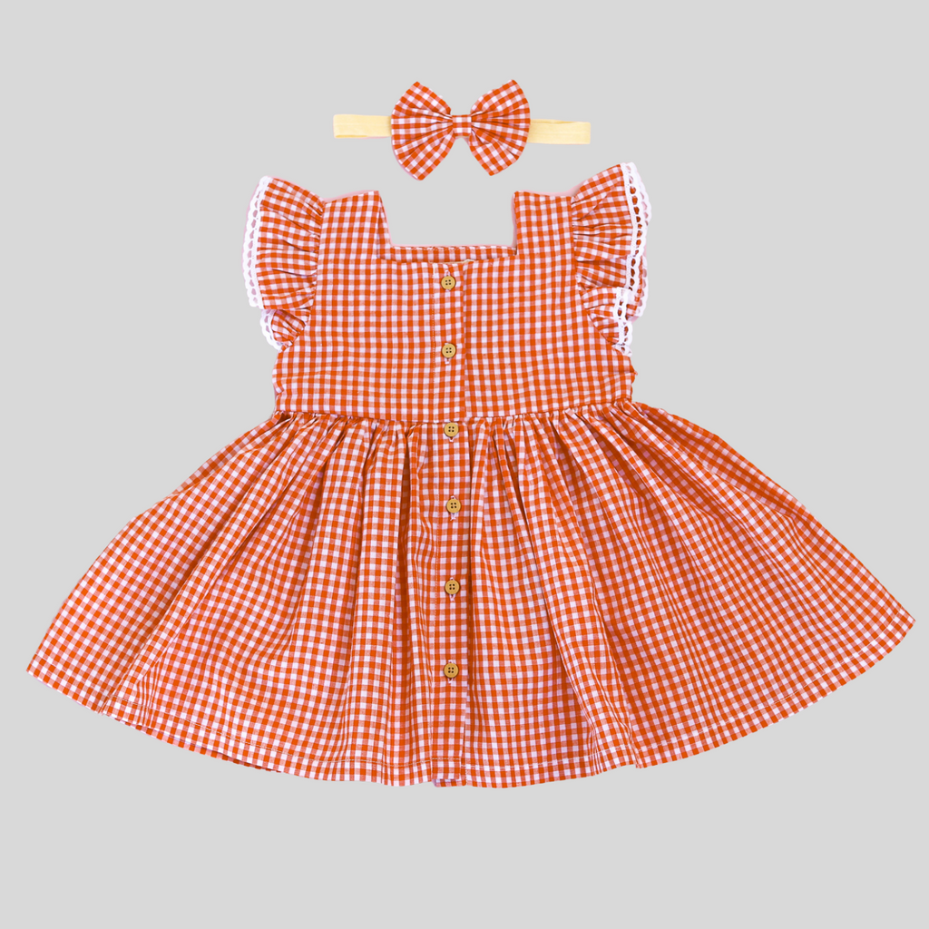 MARIGOLD FLUTTER BUTTON DRESS