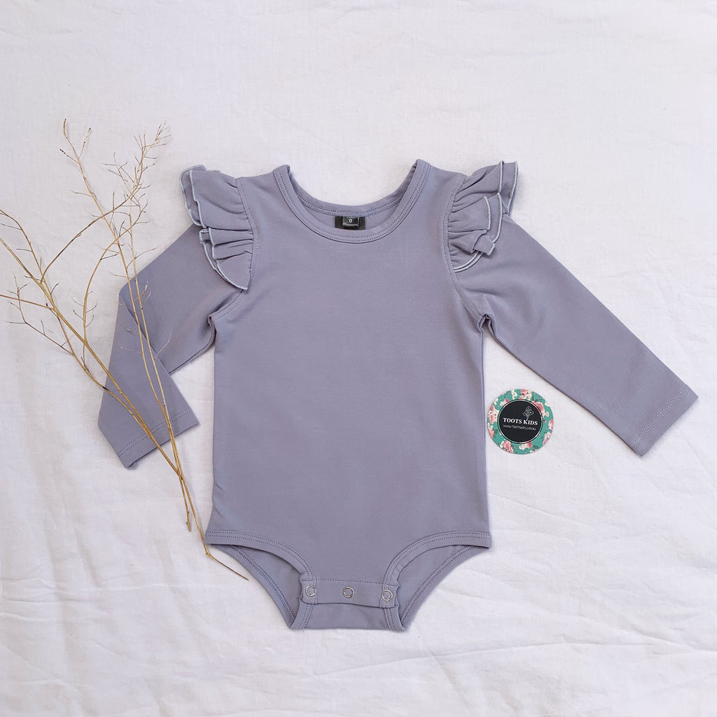 Lilac grey  long sleeve flutter - Toots Kids