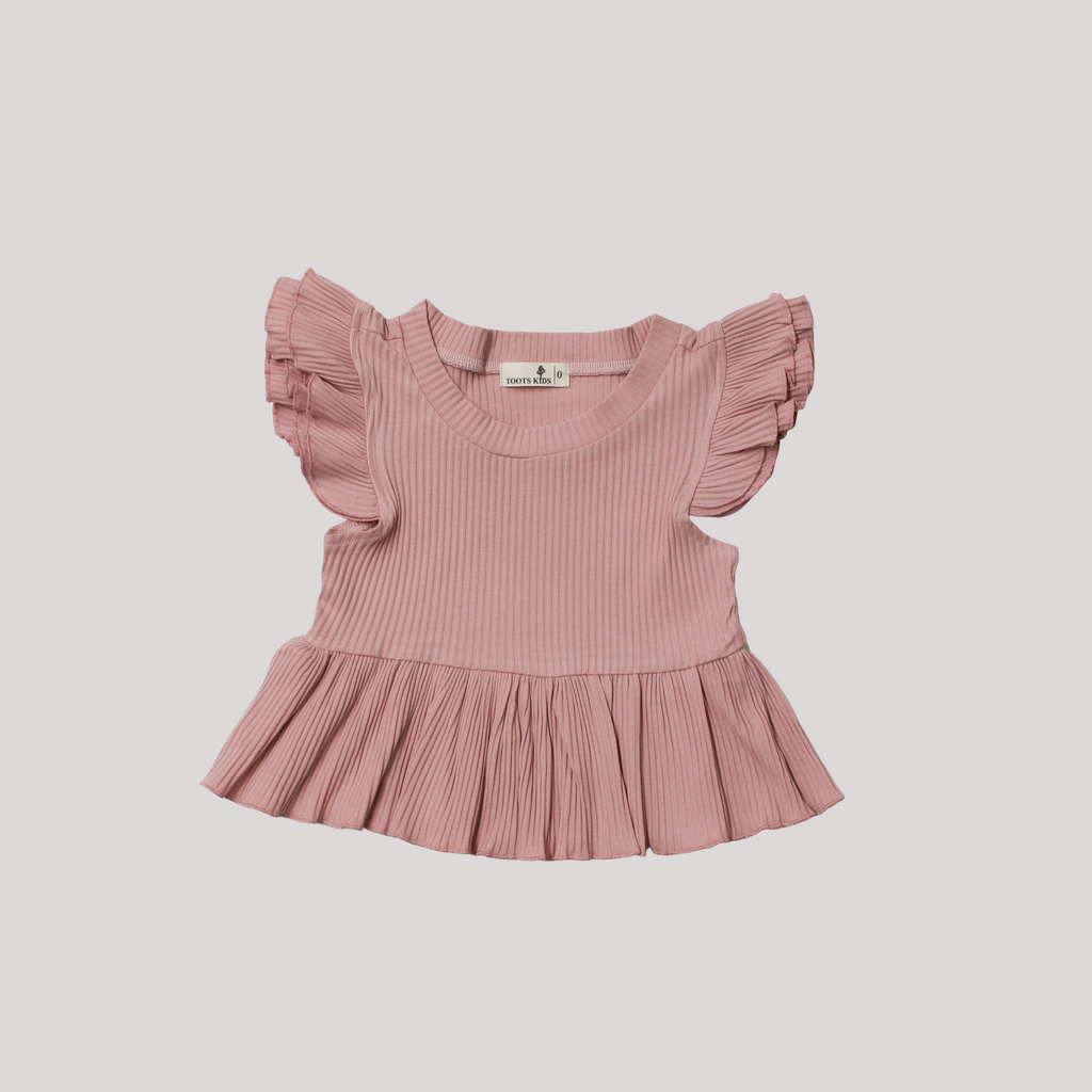 ROSE BLOOM RIBBED FLUTTER PEPLUM TOP