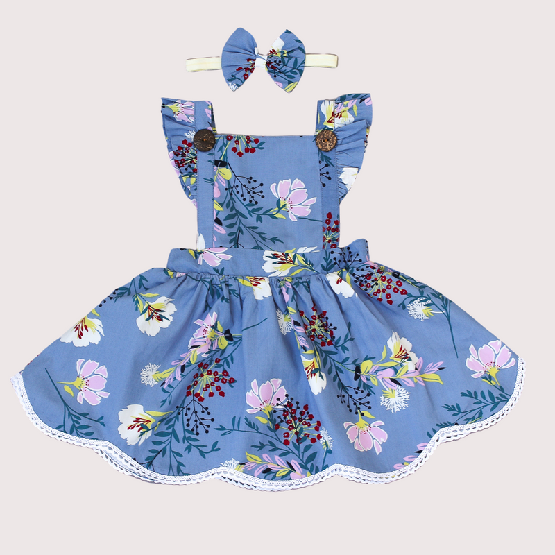 Blue pinafore pinny dress