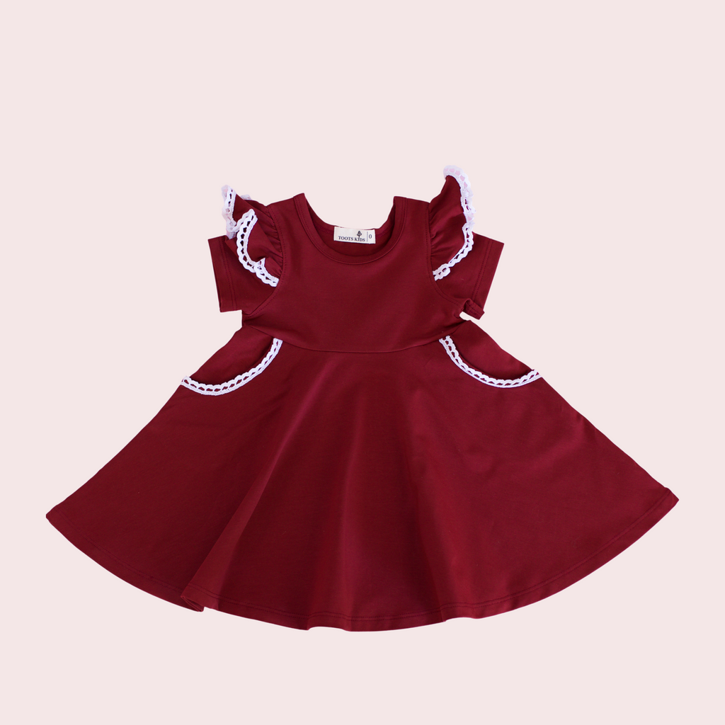 MERLOT WINE TWIRLY GIRL DRESS