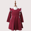 LONG SLEEVE TWIRLY GIRL DRESS - MERLOT WINE
