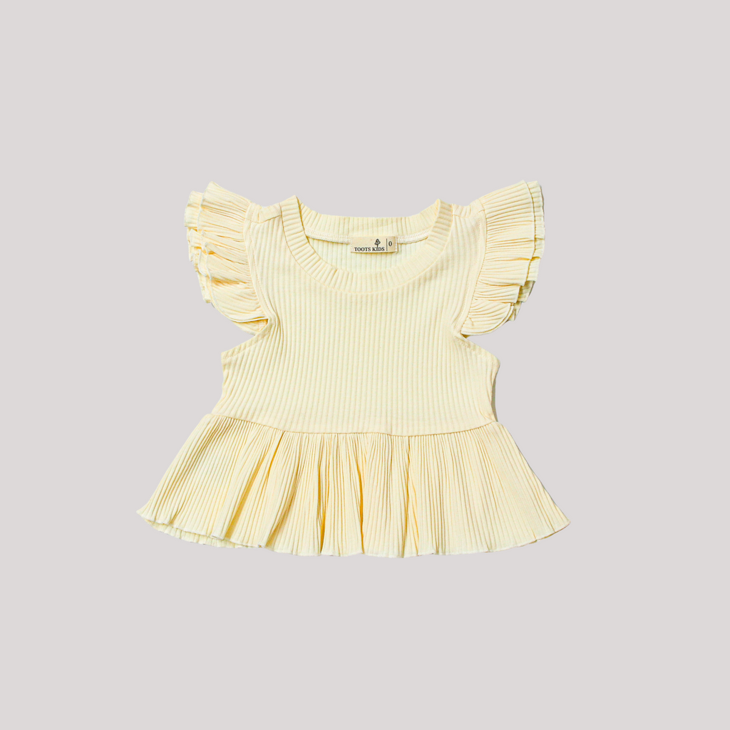 VANILLA RIBBED FLUTTER PEPLUM TOP