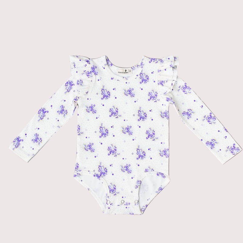 Purple long sleeve flutter top