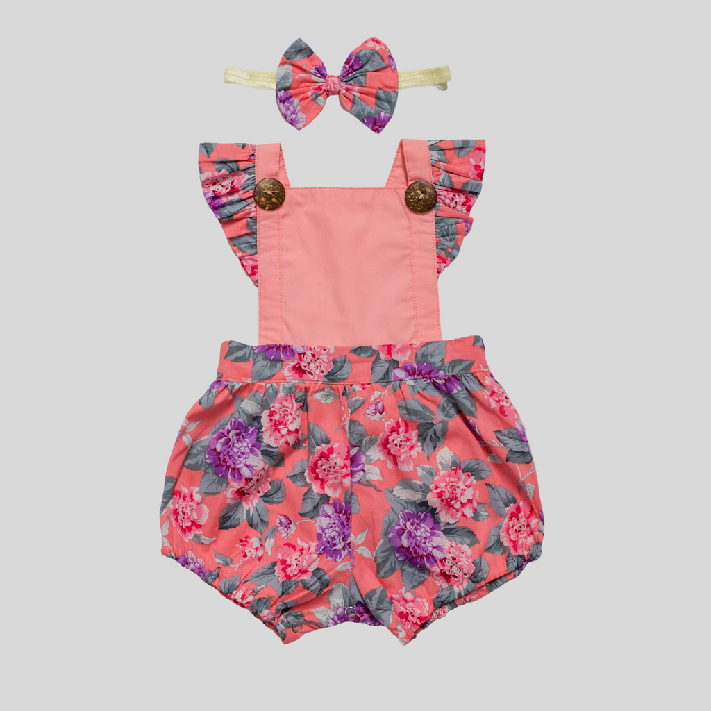 PINK FLORAL BUTTON ROMPER OUTFIT FOR BABY GIRL TODDLER AUSTRALIA