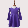 LONG SLEEVE TWIRLY GIRL DRESS - ULTRA VIOLET