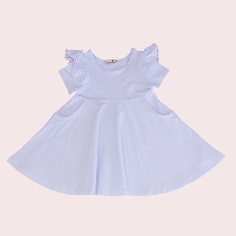 WHITE TWIRLY GIRL DRESS