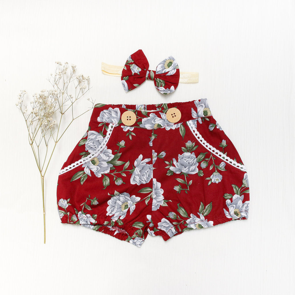 Floral Christmas shorts for girls