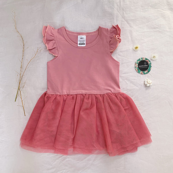 Dusty Rose Tutu Flutter romper /dress - Toots Kids