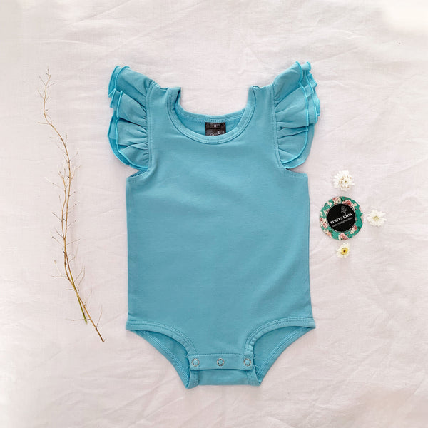 Dusty blue sleeveless flutter - Toots Kids