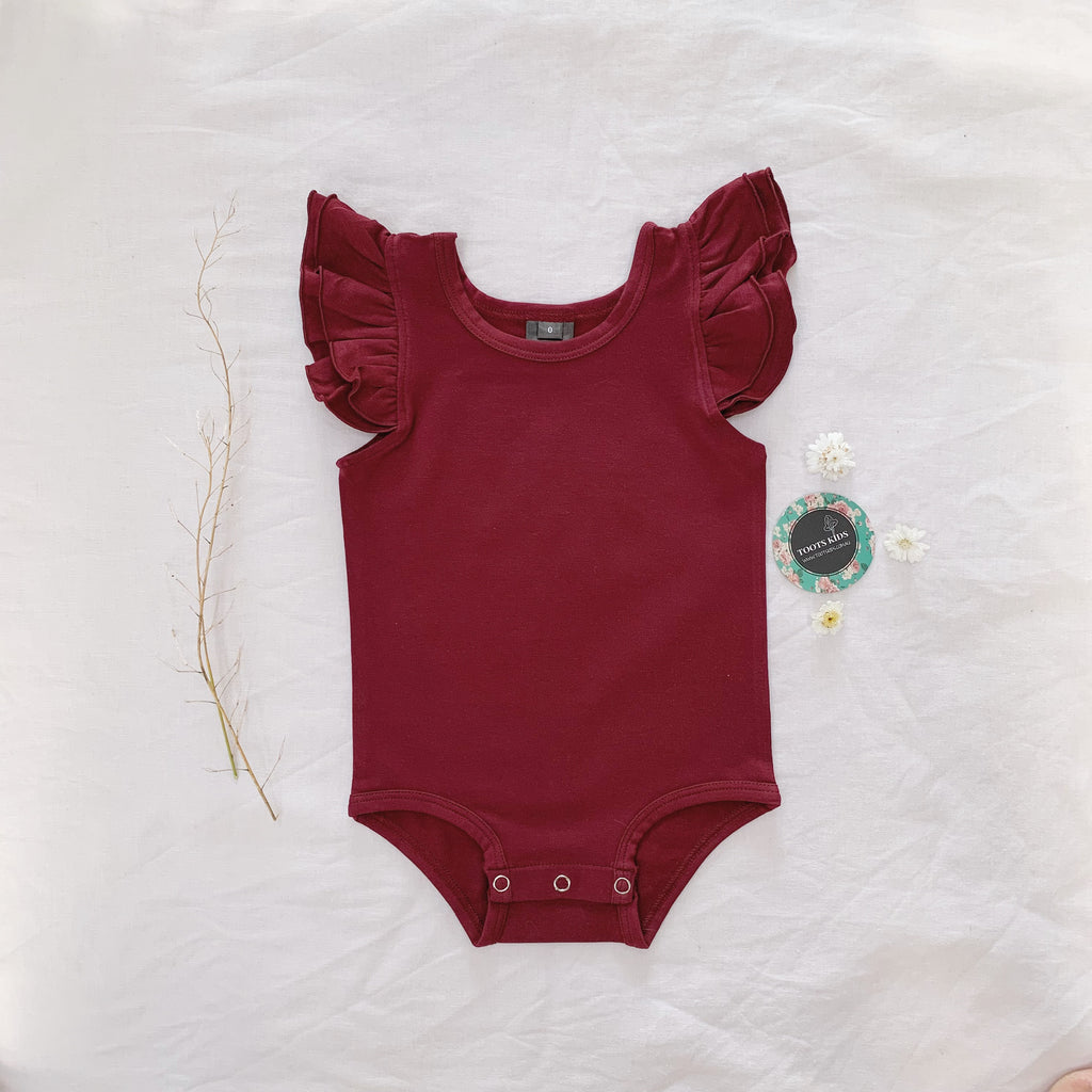 Merlot wine sleeveless flutter - Toots Kids