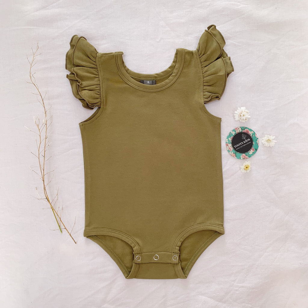 Dried herb sleeveless flutter - Toots Kids
