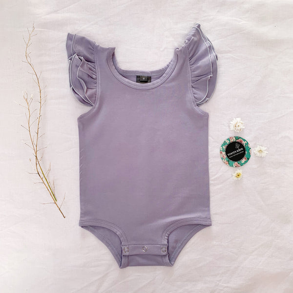 Lilac grey sleeveless flutter - Toots Kids