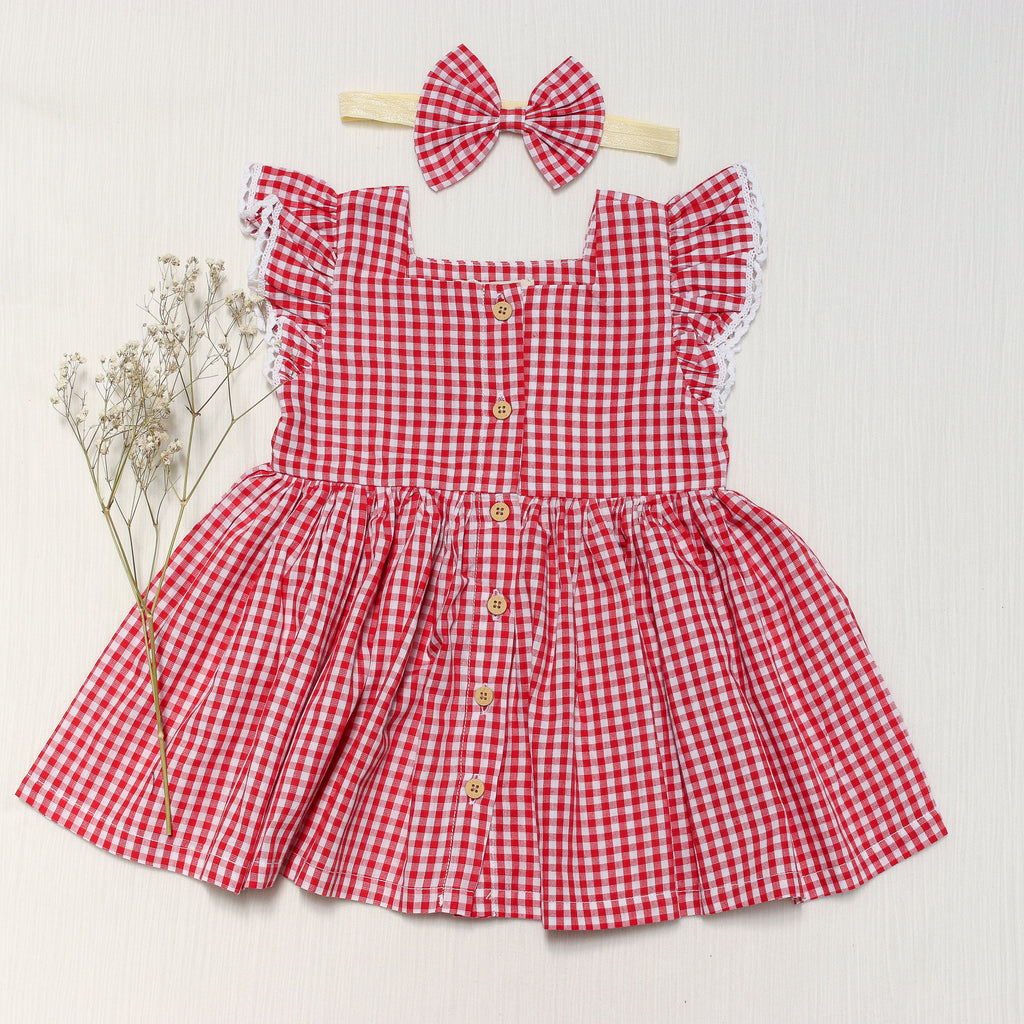 red check girl dress